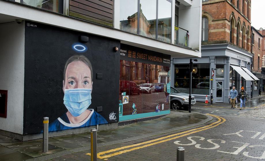 mural, medicinske, sestre, kao, anđela, velika, britanija, london