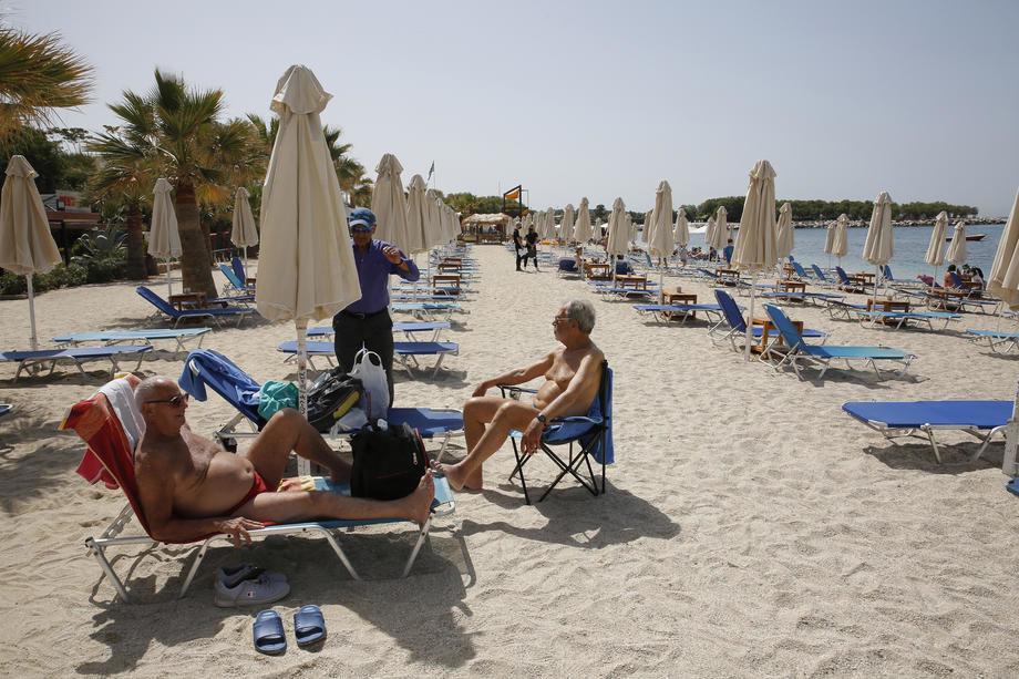 grčka, korona, plaža, ljudi